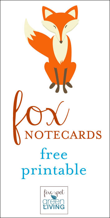 Fox Note Cards Free Printable Woodland Animals Stationery