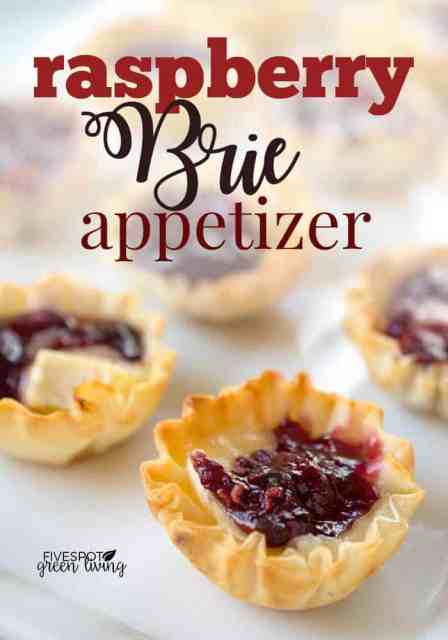 raspberry baked brie appetizer in phyllo cups