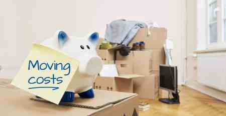 an image of a piggy bank on top of boxes that has a sticky note saying moving costs
