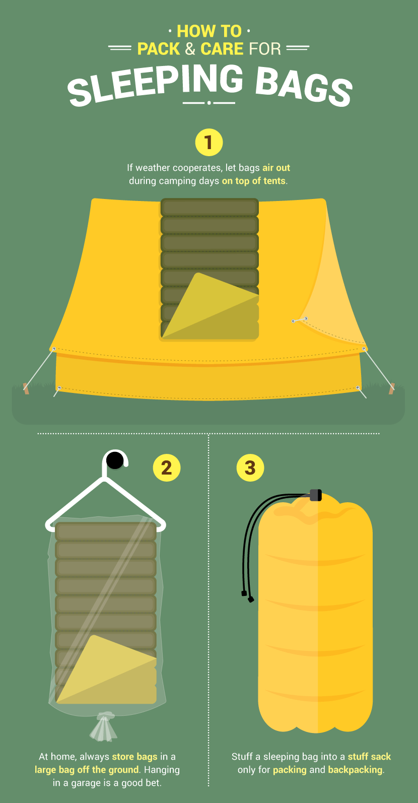 How To Store Sleeping Bags - Packing Hacks