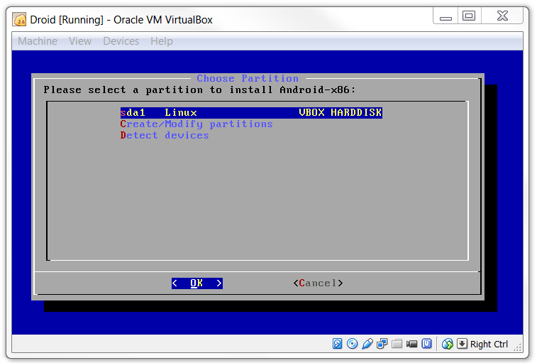 Choose Partition in VirtualBox for KitKat