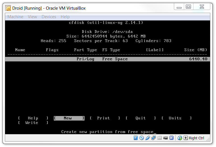 Create a new KitKat partition in Virtualbox