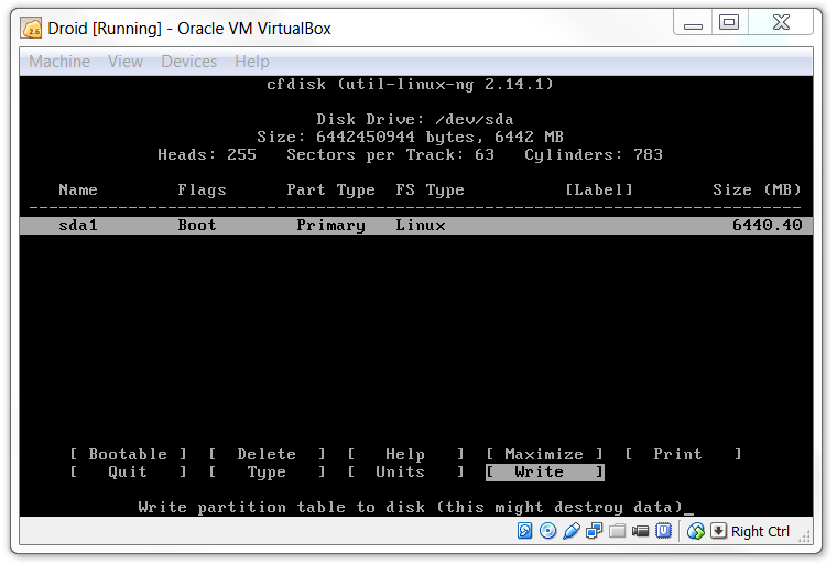 VirtualBox KitKat Bootable Write in VirtualBox