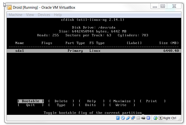 Make KitKat Virtualbox partition bootable