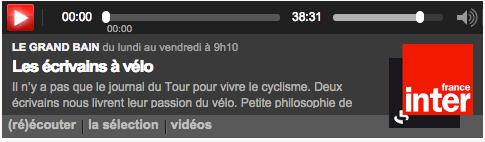 Les écrivains à vélo sur France Inter
