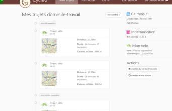 Cycleo - La politique vélo-travail au coeur de l'entreprise - interface webapp