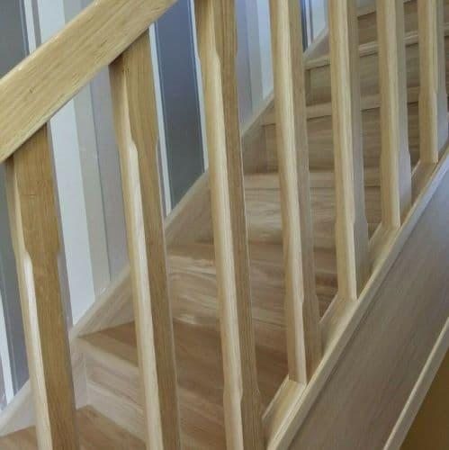 Oak Staircase Banister Chamfered Spindles + Landing Set including Newel Posts