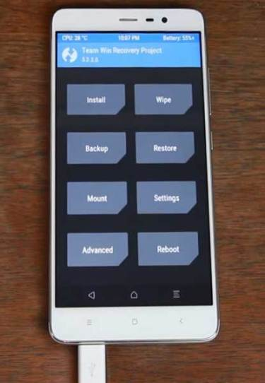 Interface of TWRP on your Xiaomi Redmi Note 3 Mobile