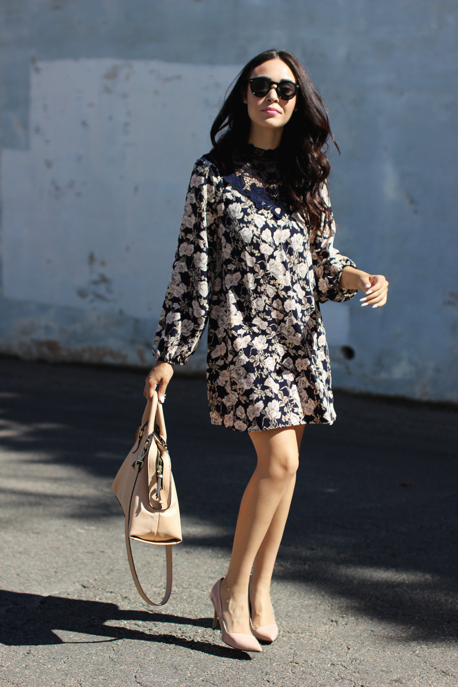 FTT-PINK-AND-SILVER-BLUE-HIGH-NECK-FLORAL-DRESS-6