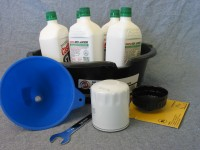 Gather the parts and tools you need to change your car's oil and filter efficiently.