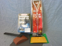 Basic auto body repair tools are available at most auto parts stores and typically include instructions.