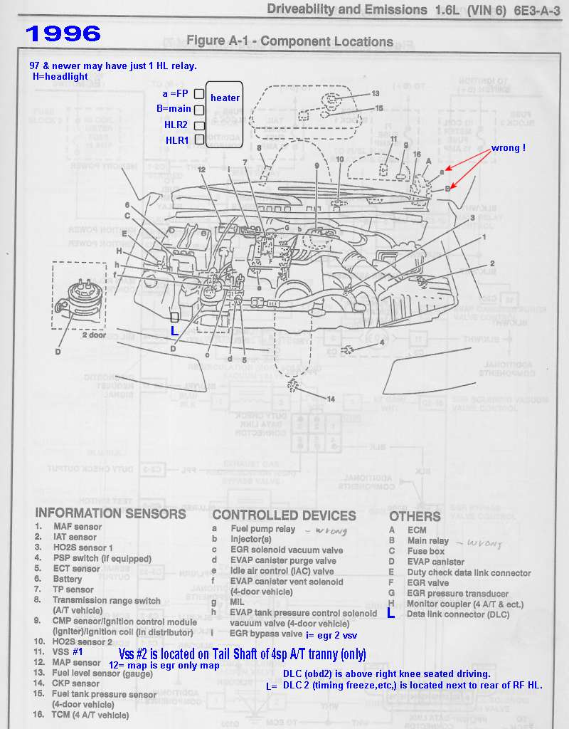 medium resolution of 1996 relay and sensor locater maps errors revised mostly correct to 1998 schematics