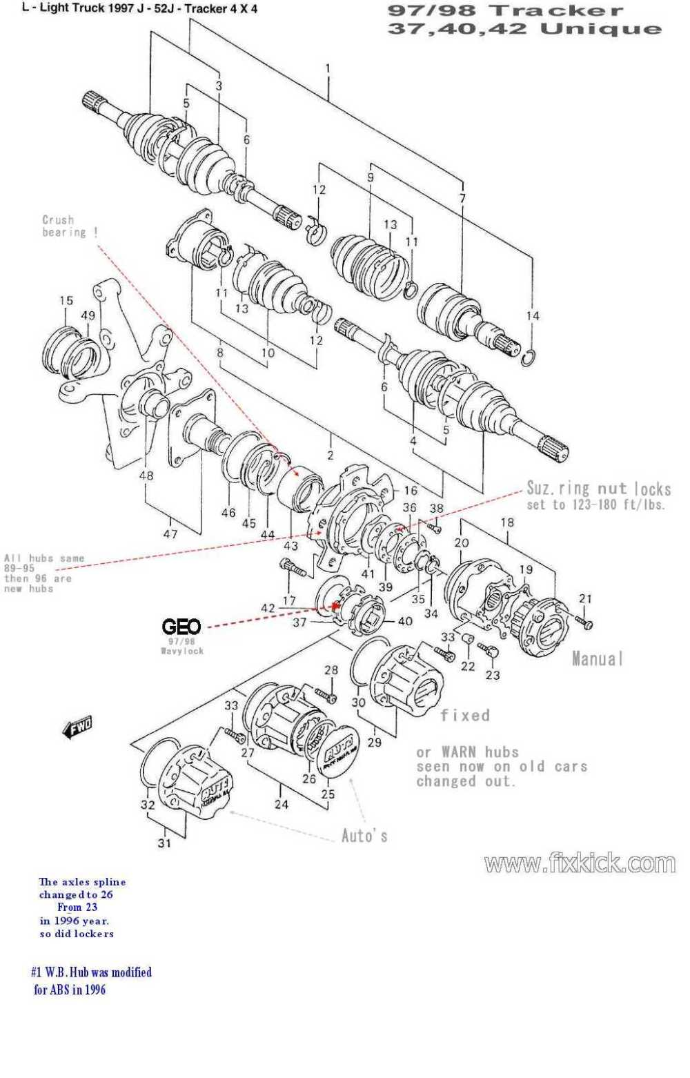 medium resolution of  diagram forward 1999 geo tracker engine wiring harness swap out of front hub bearingsclick here for a gm drawing of same 97 yr