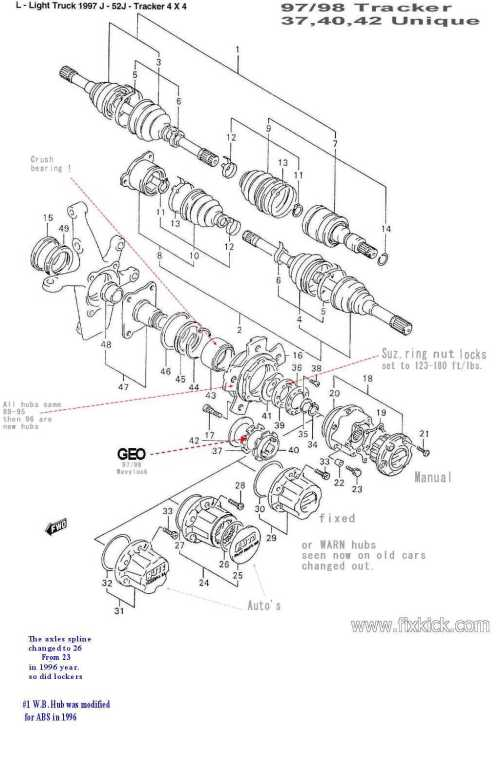 small resolution of  diagram forward 1999 geo tracker engine wiring harness swap out of front hub bearingsclick here for a gm drawing of same 97 yr