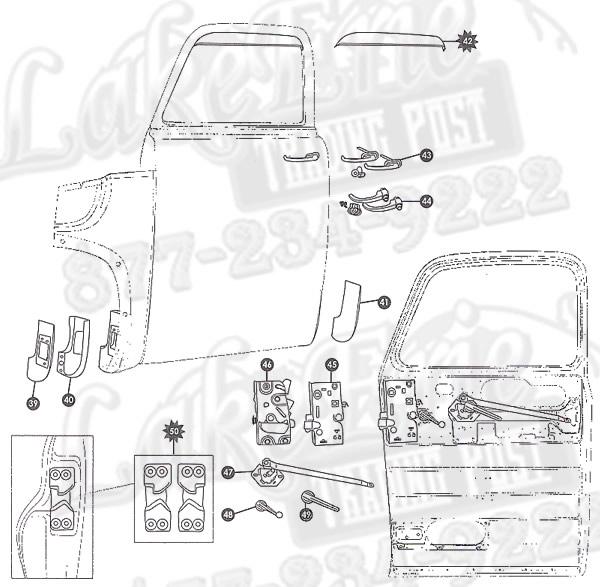 door handle parts diagram conduit wiring 47-55 first series chevrolet pickup rust repair panels