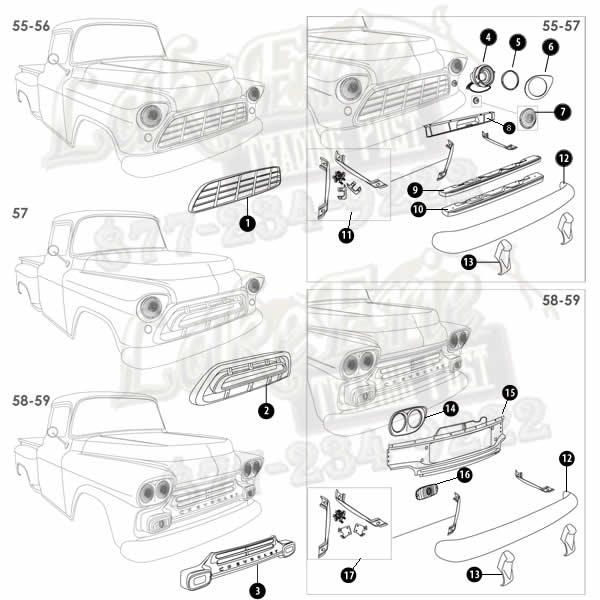 55-59 Second Series Chevrolet Pickup Rust Repair Panels