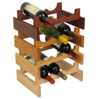 Countertop Oak Wood Wine Rack Wine Bottle Display Stand ...