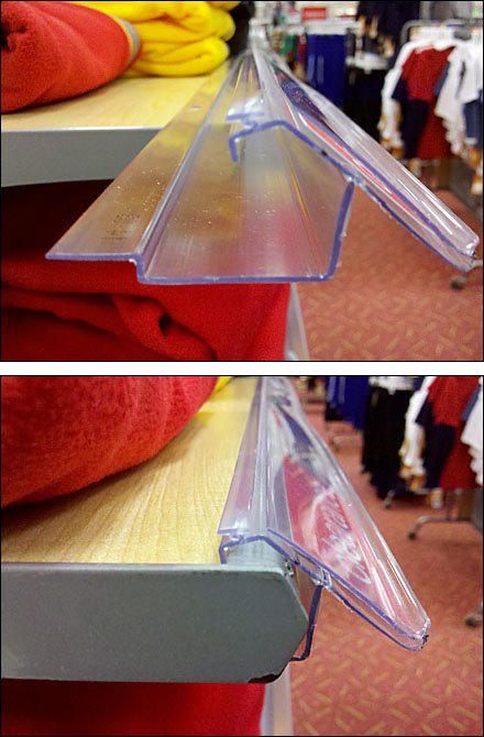 Front-Rail Label Holder for Solid Shelf