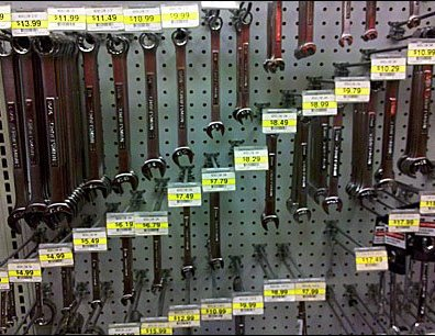 Wrenches Sized and Priced Stepwise