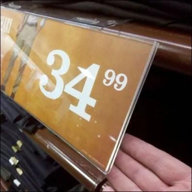 Shelf Overlay Hinged Sign Detail