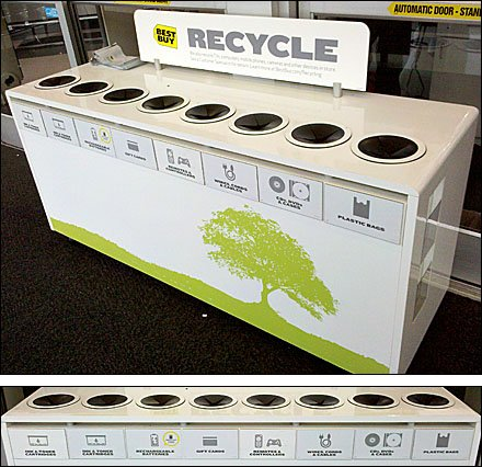 Single Unit One-piece 8 Bin Recycling Center