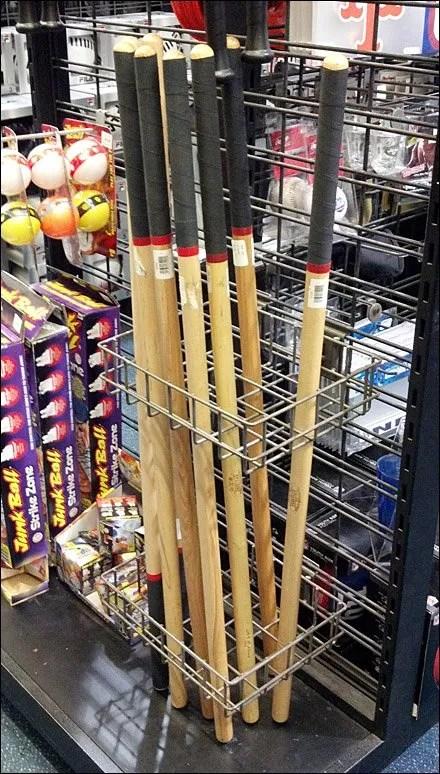 Stickball Bats in Slatwire Racks