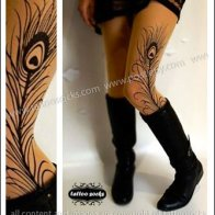 Peacock Feather Tattoo Tights