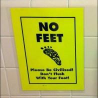 Don't Flush With Feet Closeup