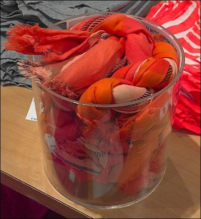 Braided Scarves in Glass Bucket Main
