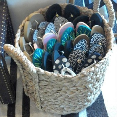 Flip Flop Wicker Basket Closeup