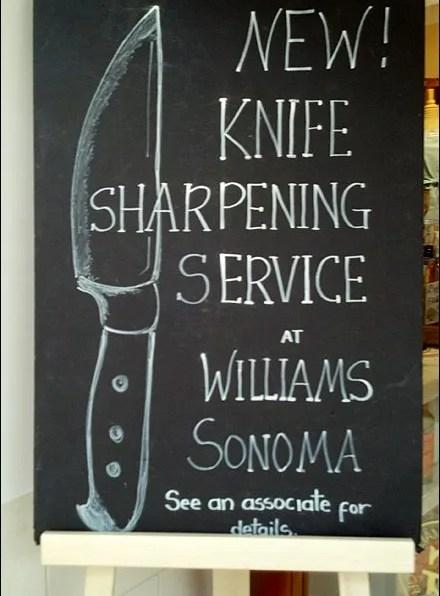 Knife Sharpening Hand Chalked Sign