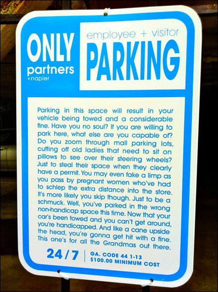 Parking Signs Use Agency Creative Copy Writing