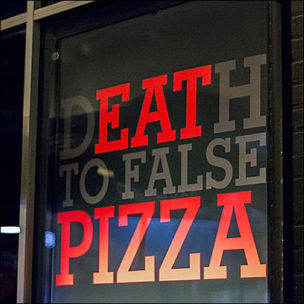 Death-to-False-Pizza Store Sign