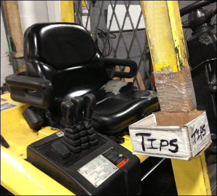 Forklift Tips and Gratuities in Restocking Main