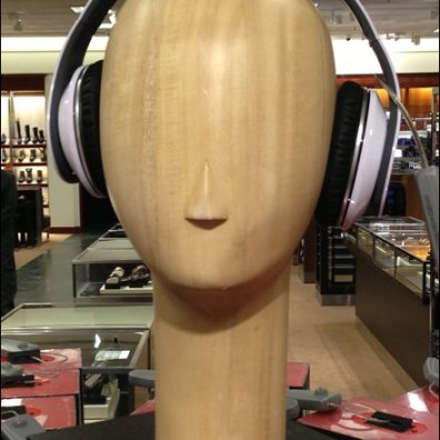 Wood Headphone Headform Closeup Aux