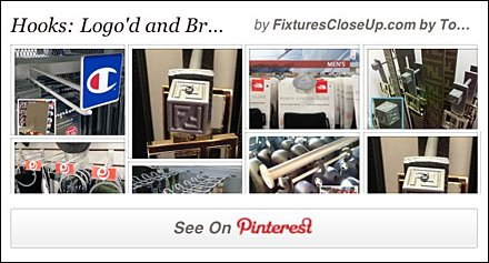 Logo Branded Hooks in Retail Pinterest Board for Fixtures Close Up