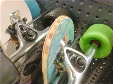 Skateboards On Single-Prong Hooks