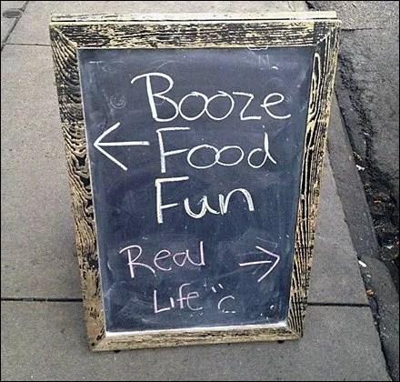 Booze Food Fun vs Real Life