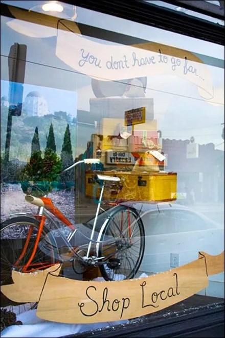 Don't Go Far … Shop Local Holiday Window - Bramble Workshop
