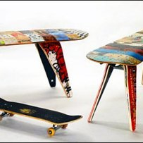 Recycled Skateboard Stools Aux