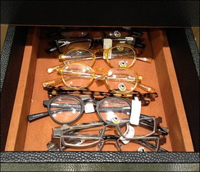 Eyewear in Leather Tray Closeup