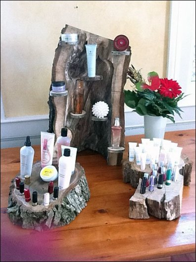 Upcycled Tree as Cosmetics Display 2
