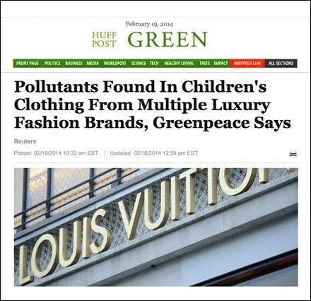 Huffington Post Greeen- Pollutants Found in Luxury Brands Main