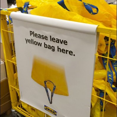 IKEA Please Leave Yellow Bag Here Bag Return