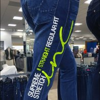 Billboarding Color Coded Jeans Lime Green