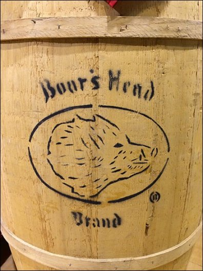 Boar's Head Branded Wood Barrel CloseUp