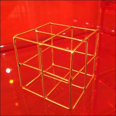 Cubic Wireforms in Brass Closeup