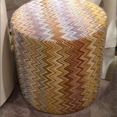 Flame Print Hassock Seating Detail
