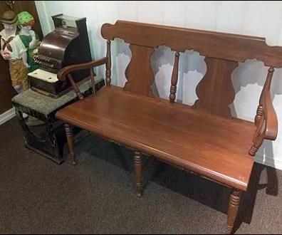 Antique Cash Register and Bench Aux