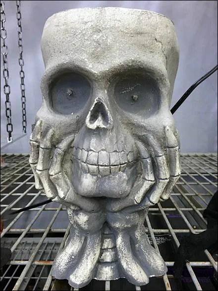 Skulls Get a Grip On Halloween - Contemplative Skull Cupped Hands